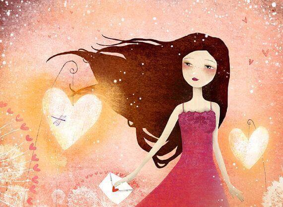 Menina com coração sabendo que tudo é possível