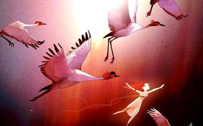 Menina com pássaros