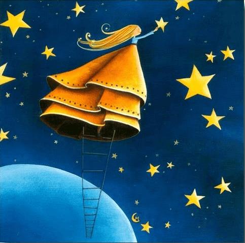 Menina sorrindo com uma escada colhendo uma estrela