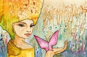 Mulher com borboleta pensando em sua vida