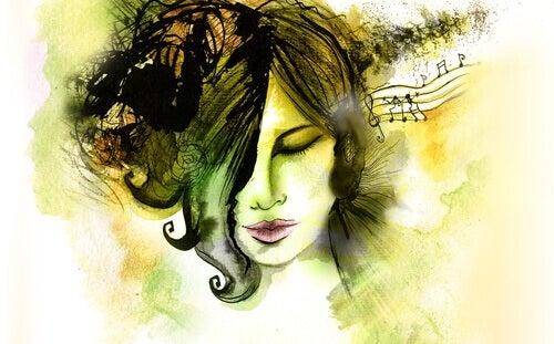 Mulher ouvindo música e desenvolvendo inteligência musical