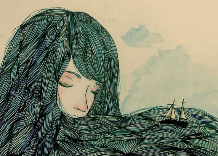 Mulher com barco no cabelo