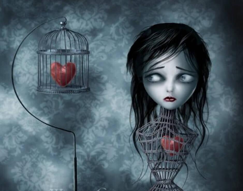 Mulher com coração dentro de gaiola