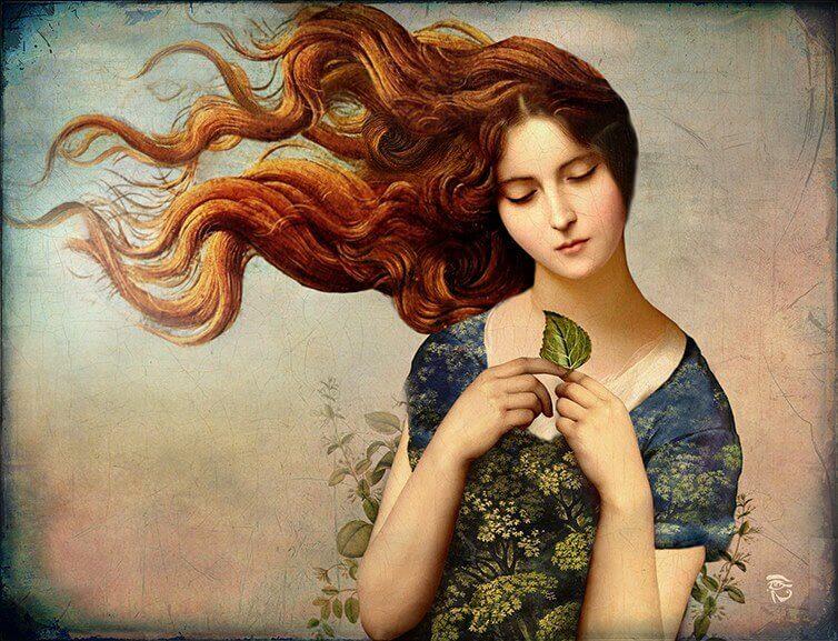 Mulher com folha de árvore pensando sobre o passado