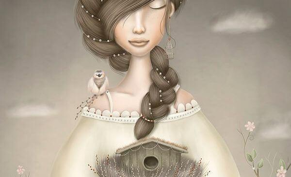 Mulher com um pássaro no ombro