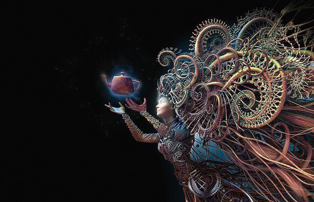 Mulher imagem fantasia com chaleira na mão
