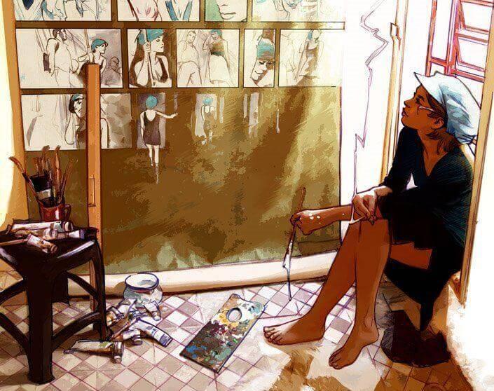 mulher-artista-desenvolvendo-sua-criatividade