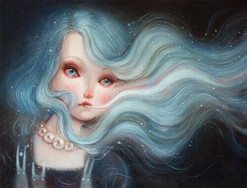 muhler-com-cabelo-azul-pensando-no-amor