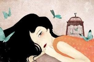 Menina deitada pensando que tudo é possível