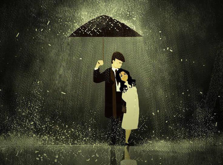 Casal que enfrenta as tempestades