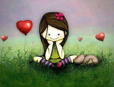 menina com corações