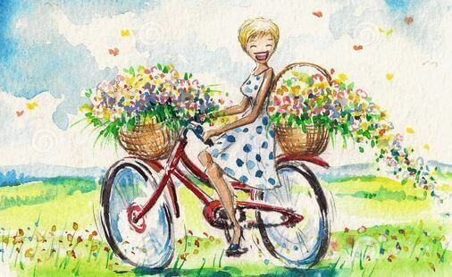 menina de bicicleta sorrindo