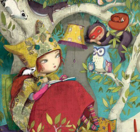 menina lendo rodeada por animais