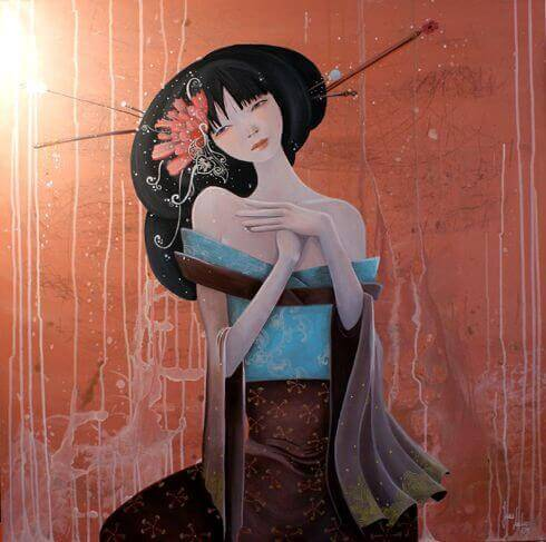 Mulher japonesa que enfrenta as tempestades