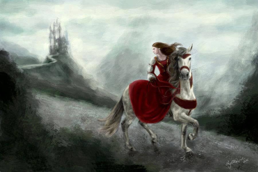 Mulher montada em cavalo fugindo das tempestades