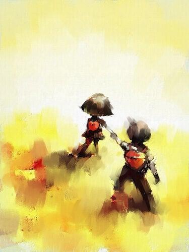 Amigos caminhando de mãos dadas com mochilas