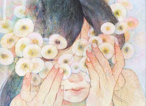 Mulher com flores redondas no rosto
