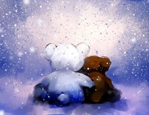 Ursos amigos abraçados