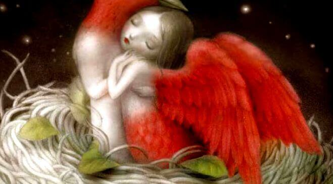 mulher-asas-vermelhas