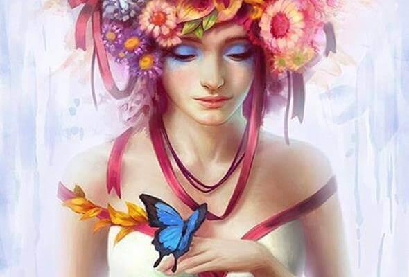 mulher-com-cabelo-de-flores
