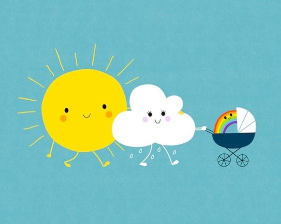 sol, nuvem e arco-iris família