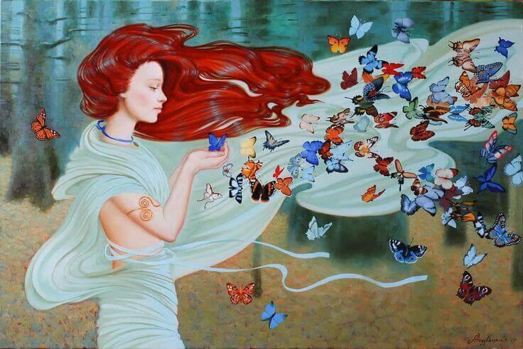 mulher com muitas borboletas