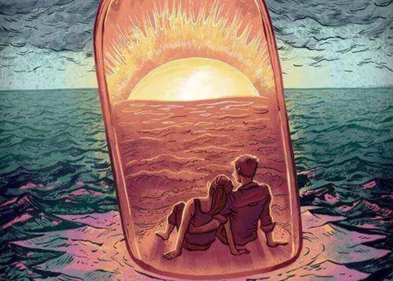 casal-em-garrafa-no-mar