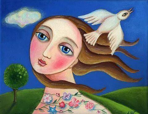 mulher-com-pombo