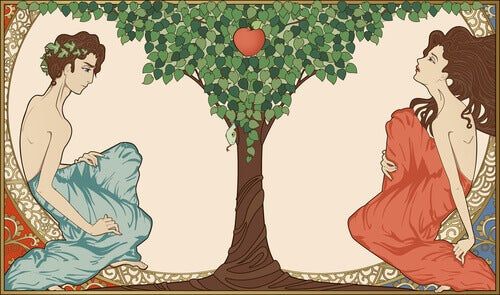 Adão e Eva com o fruto proibido