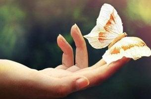 Mulher com borboleta representando o amar