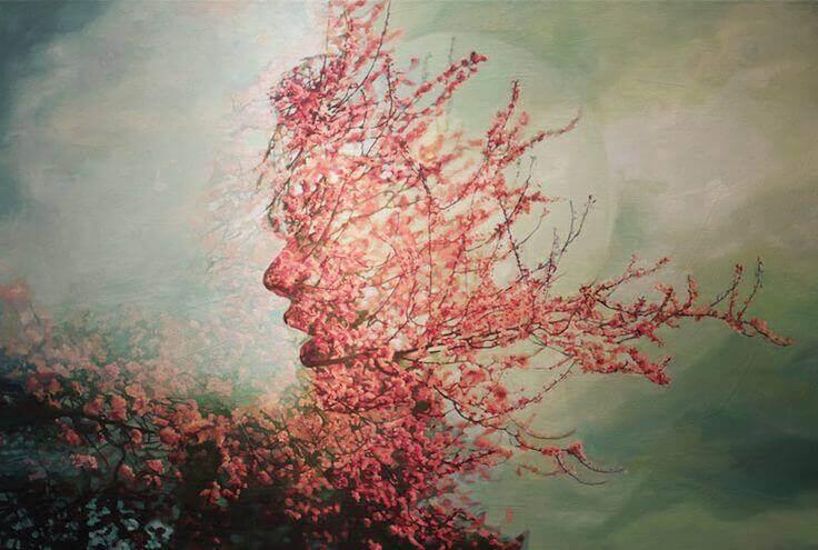 rosto de mulher feita com flores representando a verdade