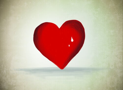 coração vermelho com lágrima