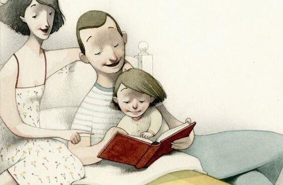 Deite os seus filhos lendo um livro, não vendo televisão