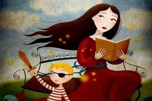 Mãe lendo livro para filho