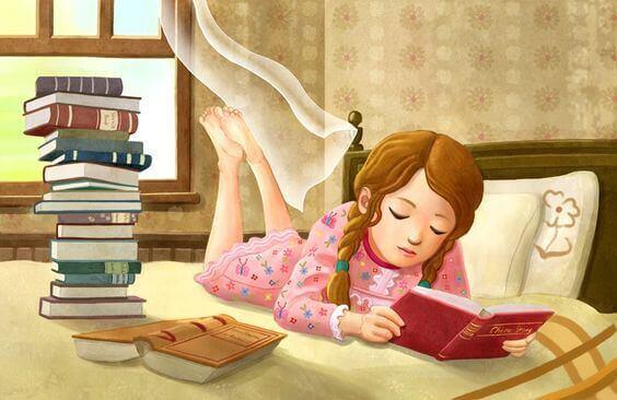 Filhos lendo livros