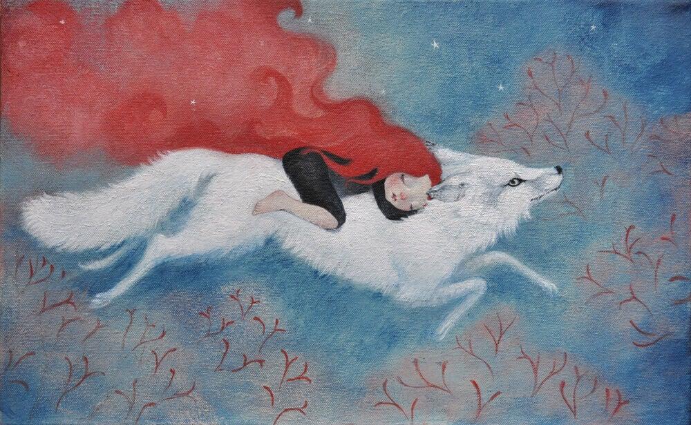 Mulher com um lobo