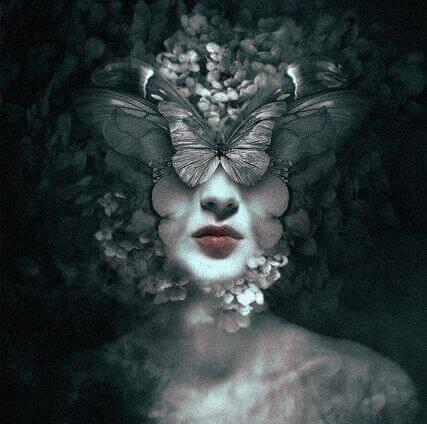 Mulher rosto borboletas
