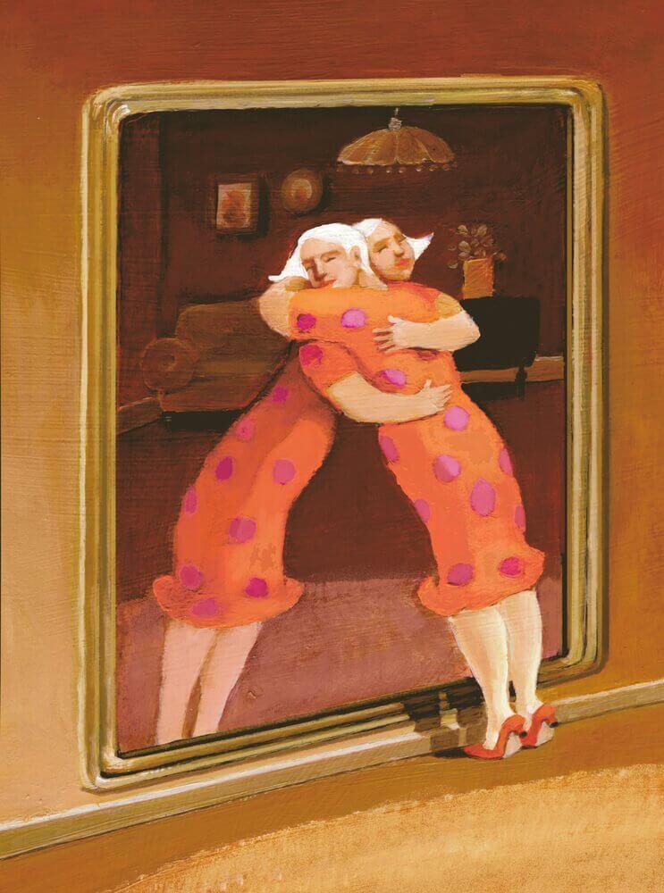 Mulher-se-abraçando-com-sua-imagem-do-espelho