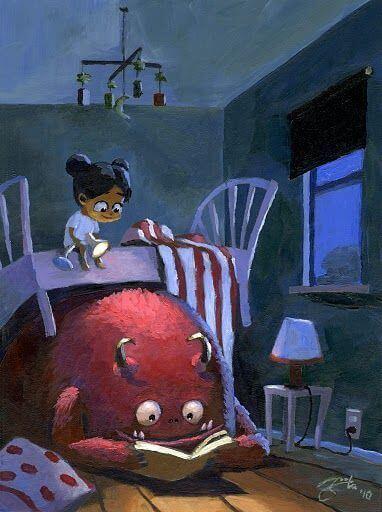 menina na cama em cima do monstro