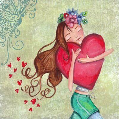 menina feliz abraçando um coração