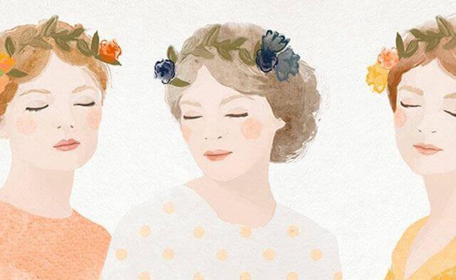 Três mulheres com flores na cabeça