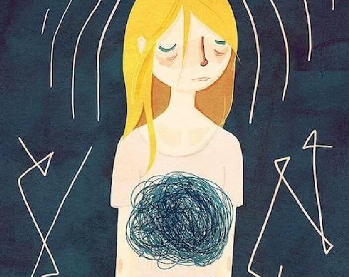 Mulher lidando com ansiedade