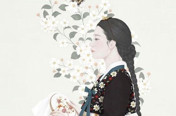 mulher-oriental-com-flores-brancas