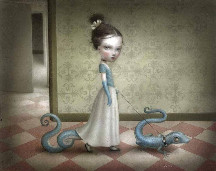 menina com dragões