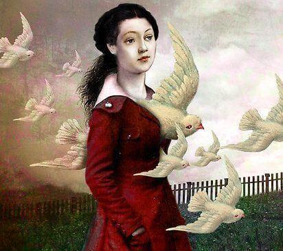 mulher com pombas