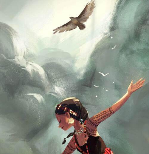 menina com pássaro