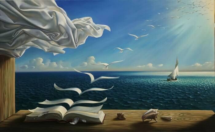 pintura-livros-voando