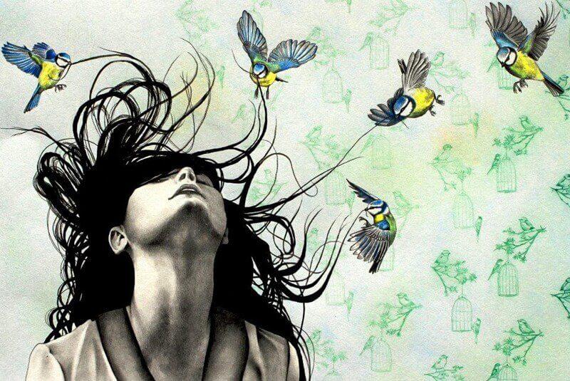 mulher-com-passarinhos-no-cabelo