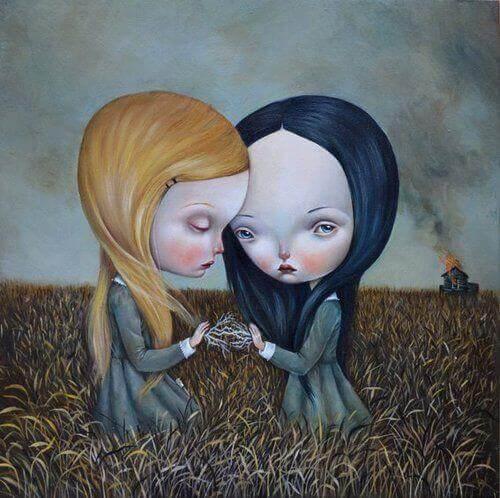 Amigas tristes e sozinhas no campo