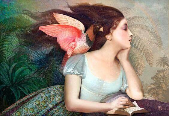 Amor próprio mulher com pássaro no ombro